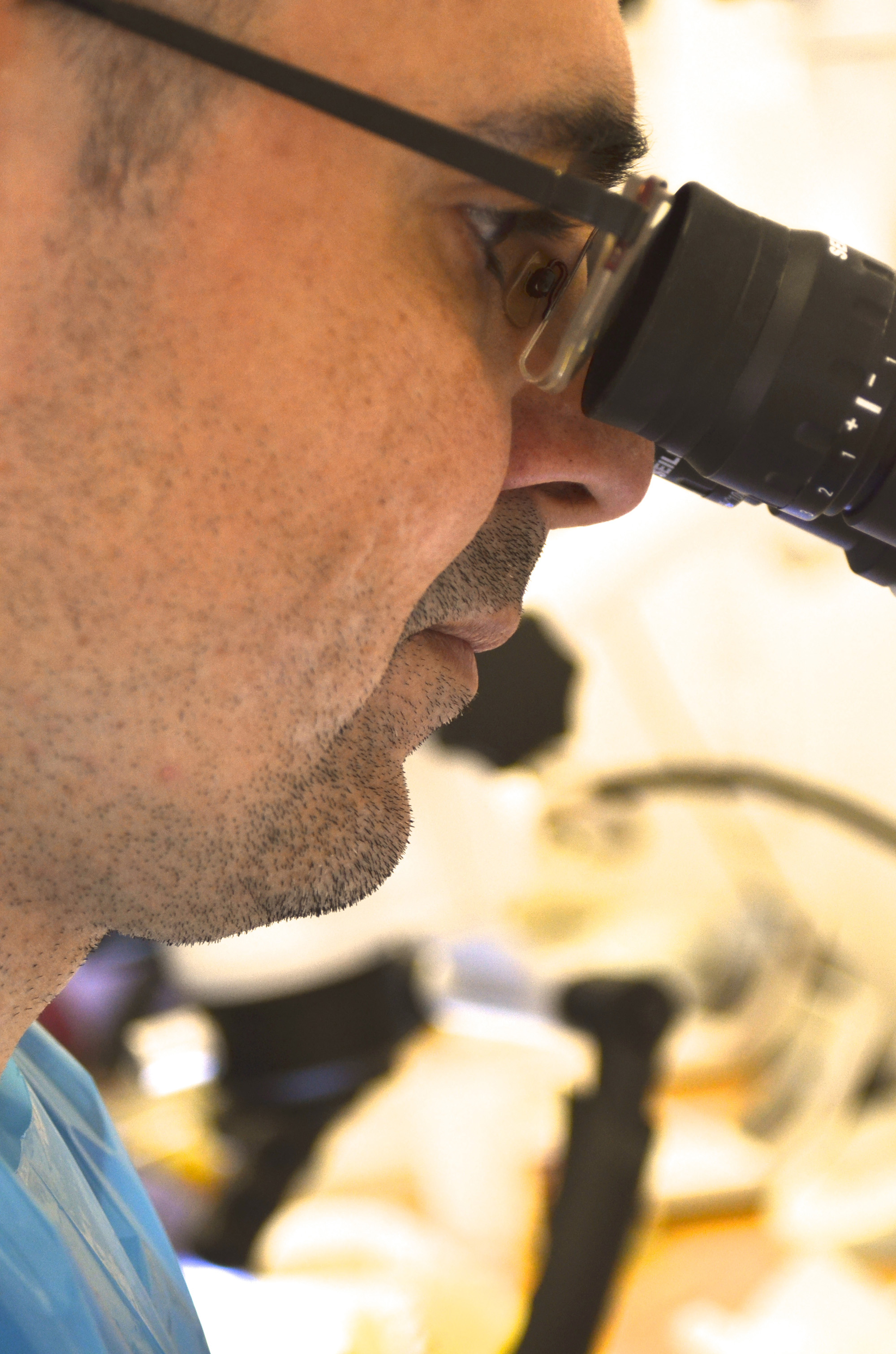 Looking into eyepieces